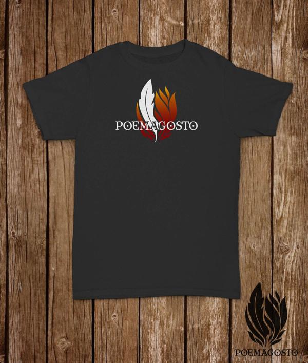 Camiseta do Poemagosto. Cor gris vigoré.