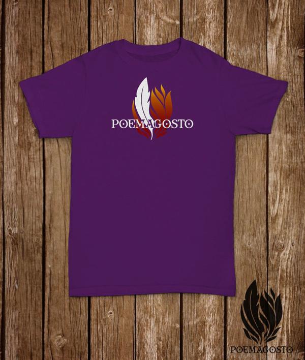 Camiseta do Poemagosto. Cor Lila
